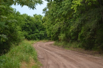 Where the dirt road curves ...