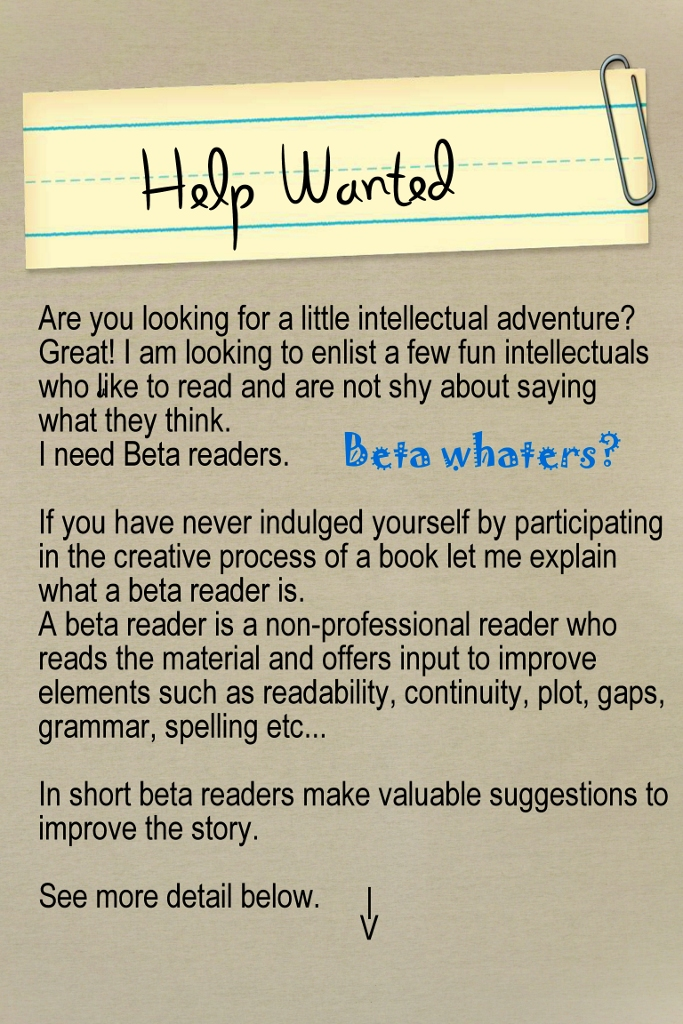 HELP WANTED BETA READERS ad
