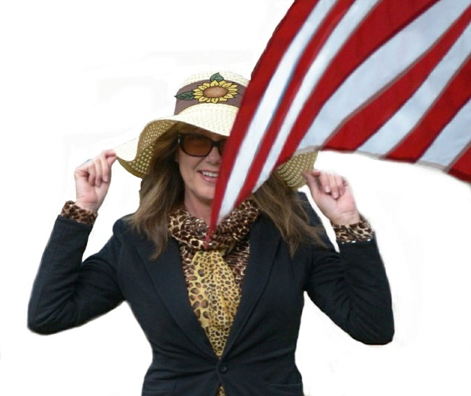 Janna Hill with hat and flag